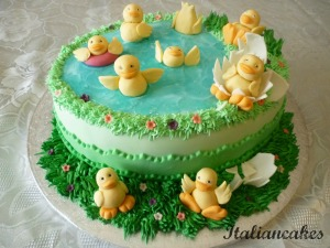 Decorated cake with ducks
