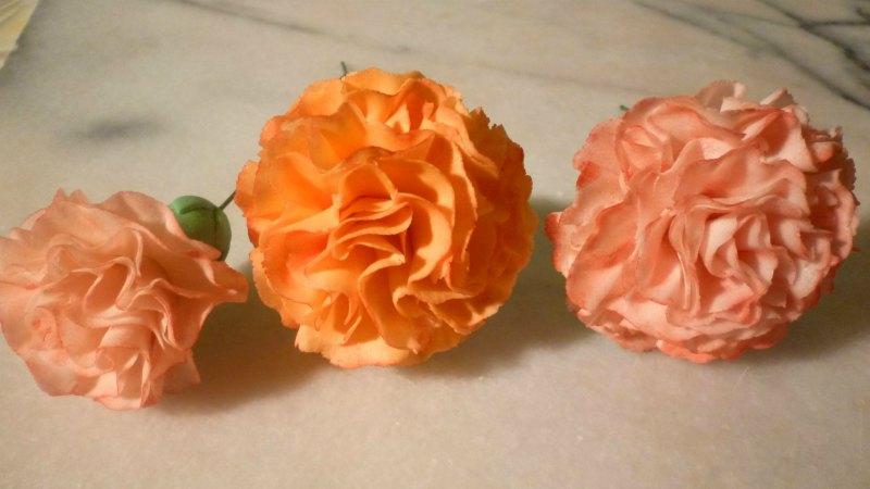 Sugar paste carnations